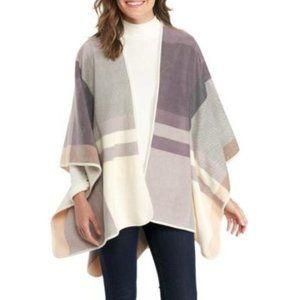 Cejon Plaid Fleece Reversible Ruana Poncho Wrap